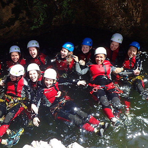 hen party canyoning in malaga